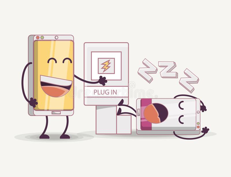 Mobile design concept. Mobile design with cartoon lazy smartphones over white background, colorful design. vector illustration vector illustration