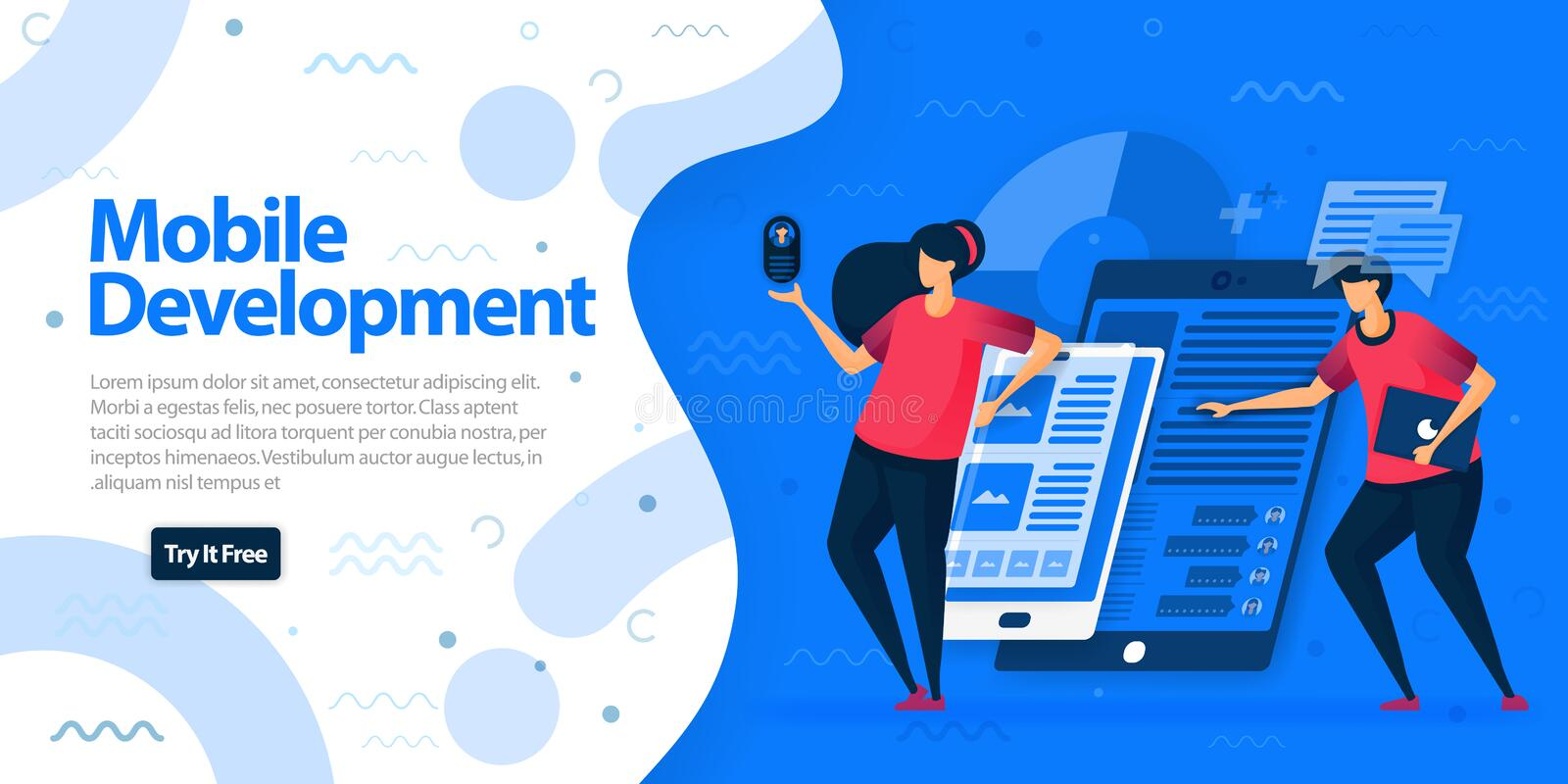 Mobile development apps websites and landing page template. Make mobile apps with more responsive and easier to access on all devi stock illustration