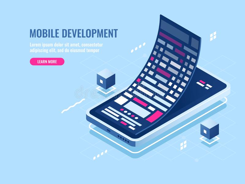 Mobile development concept, message roll, software programming for mobile phone, smartphone application isometric vector. Illustration vector illustration