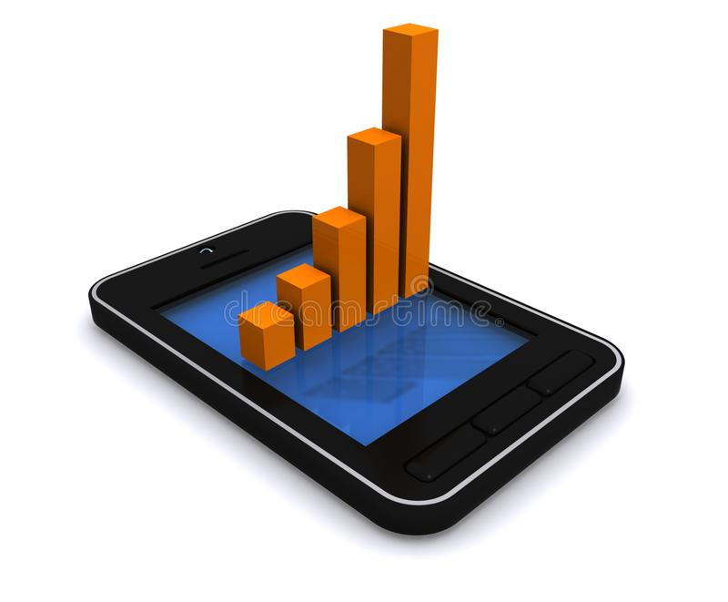 Download Mobile device and graph stock illustration. Image of technological - 21153069