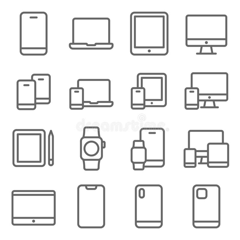 Mobile Device icons set vector illustration. Contains such icon as Tablet, Smartphone, Desktop,Smart watch, and more. Expanded Str. Smartphone Mobile Device royalty free illustration
