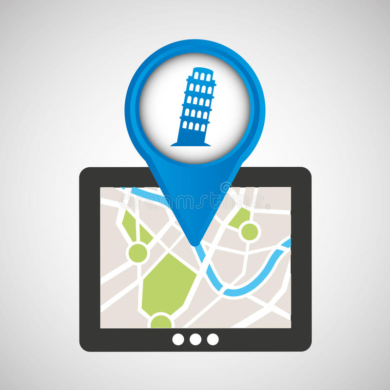 Mobile device pisa tower gps map. Vector illustration eps 10 stock illustration