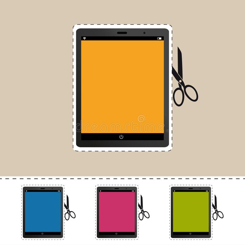 Mobile Device - Scissor Cut Line Icons - Colorful Vector Illustration - Isolated On White stock illustration