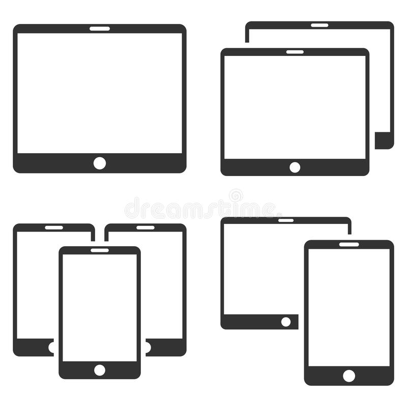 Mobile Device Vector Flat Icon Set stock illustration