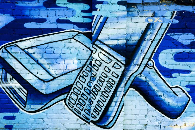 A mobile devices. Beautiful colorful drawing of street art vector illustration