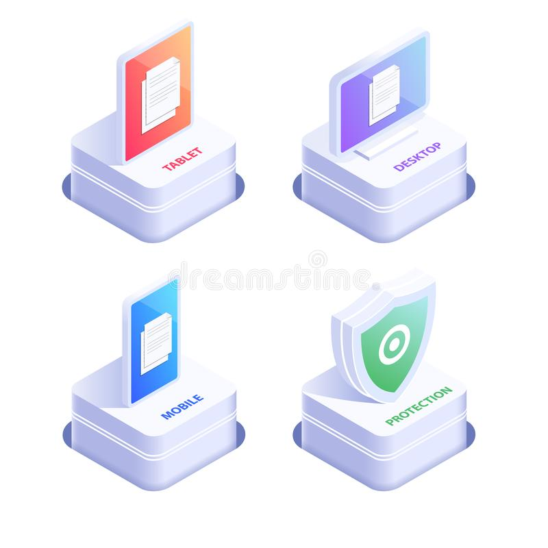 Mobile devices 3d ison set. Protection shield icons. Flat isometric vector illustration isolated on white background. vector illustration