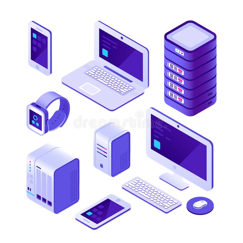 Mobile devices isometric set. computer, server and laptop, smartphone. Cloud database system vector 3d collection. Mobile devices isometric set. computer, server royalty free illustration