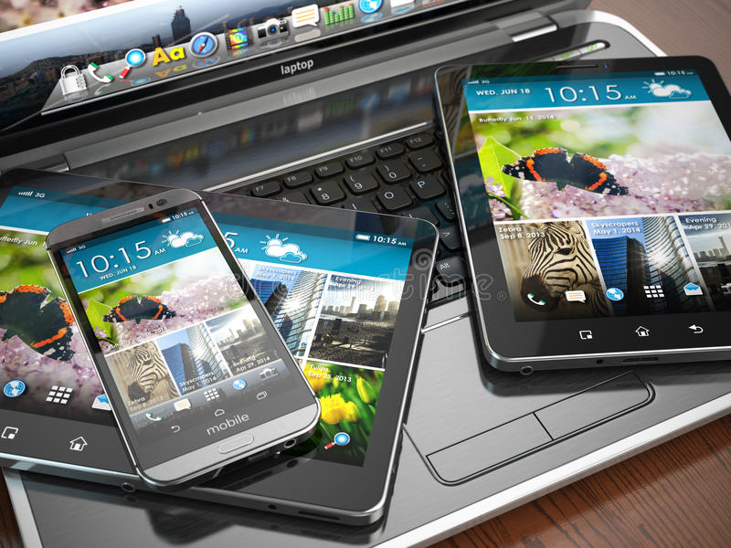 Mobile devices. Laptop, smartphone and tablet pc. stock illustration