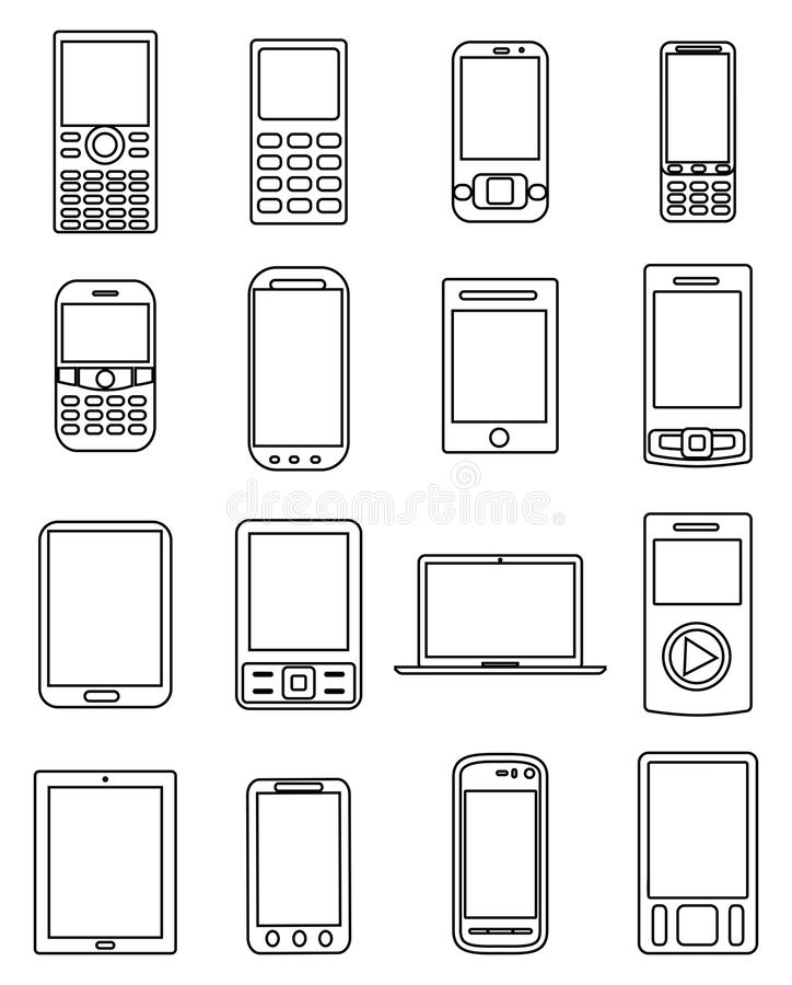 Mobile devices line icons set. In black royalty free illustration