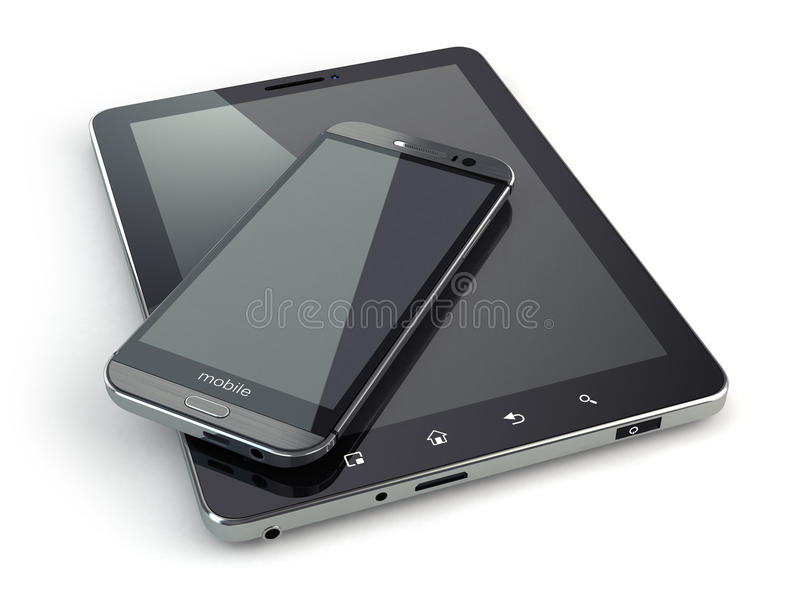 Download Mobile Devices. Smartphone And Tablet Pc On White  Backg Stock Illustration - Image: 43537120