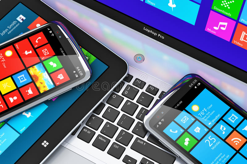 Download Mobile Devices With Touchscreen Interface Stock Illustration - Image: 33130945