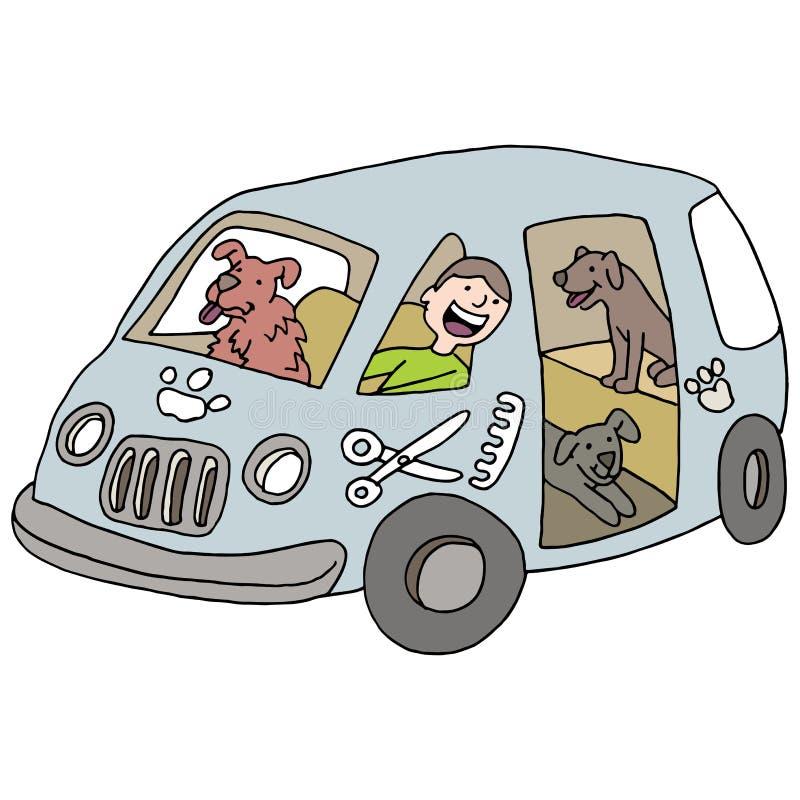 Mobile Dog Groomer vector illustration