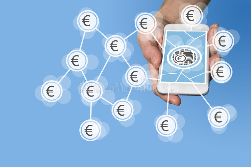 Mobile e-payment and e-commerce concept with hand holding modern smartphone in front of neutral grey background stock photos