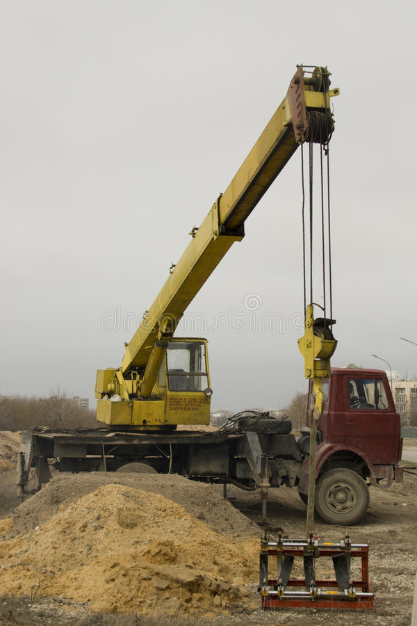 The mobile elevating crane royalty free stock image