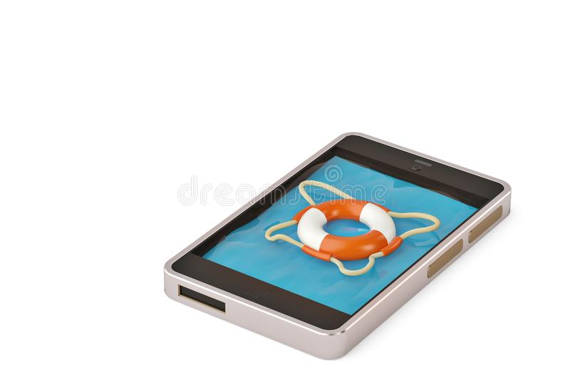 Mobile emergency service concept touchscreen smartphone with lifesaver belt isolated on white.3D illustration. stock illustration