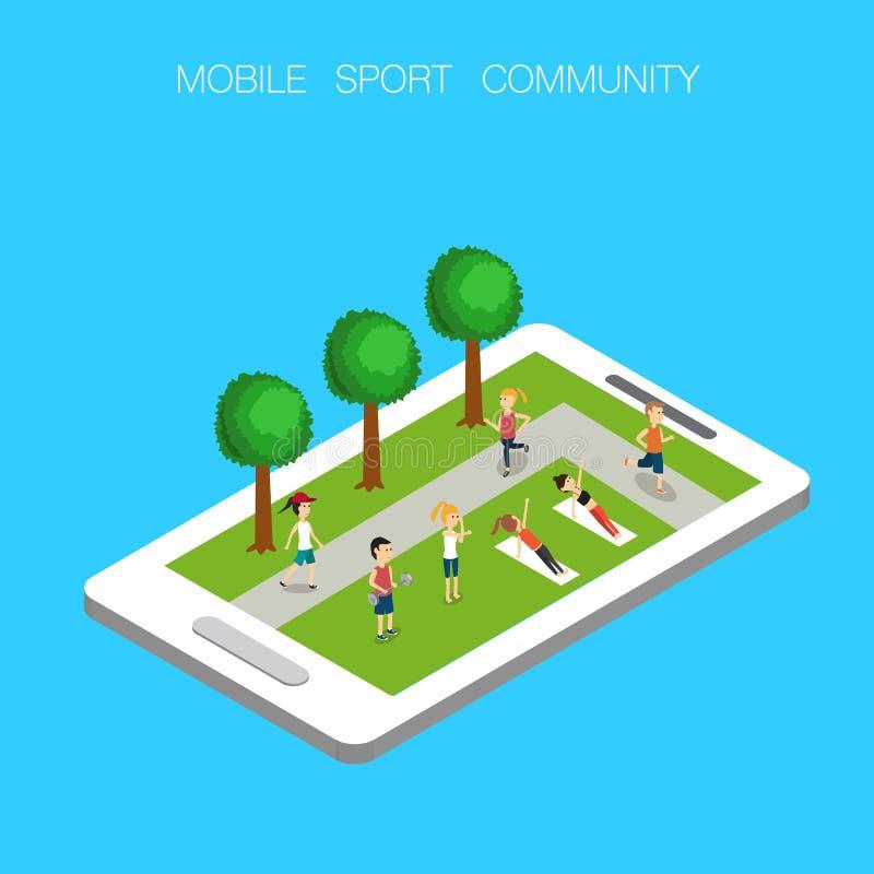 Mobile en ligne de la communauté de sport illustration stock