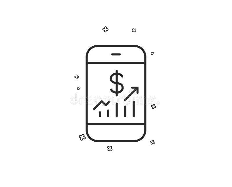 Mobile finance line icon. Business audit sign. Vector royalty free illustration