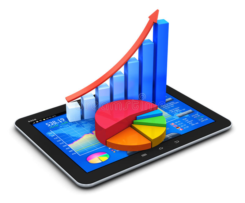 Mobile finance and statistics concept. Mobile office, stock exchange market trading, statistics accounting, financial development and banking business concept