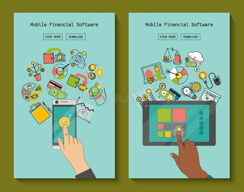 Mobile financial software for phone and tablet banners vector illustration. Risk management. Corporate finance vector illustration