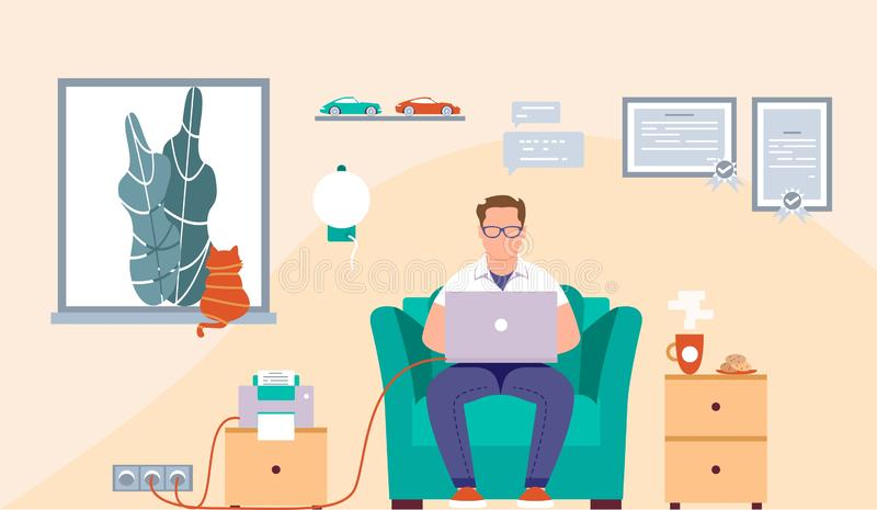 Flat design of an office or freelance worker. Businessman. Vector illustration. Man sitting in the chair and working on the desk. royalty free stock photos