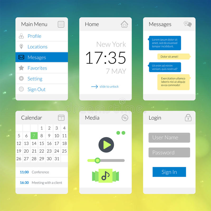 Mobile flat interface elements with colorful. Wallpaper, design for applications, panel lists player calendar chat homepage and main menu vector illustration
