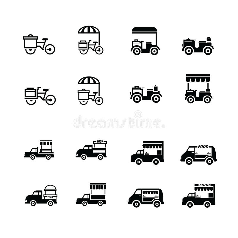 Mobile food bicycle and car icons stock photo