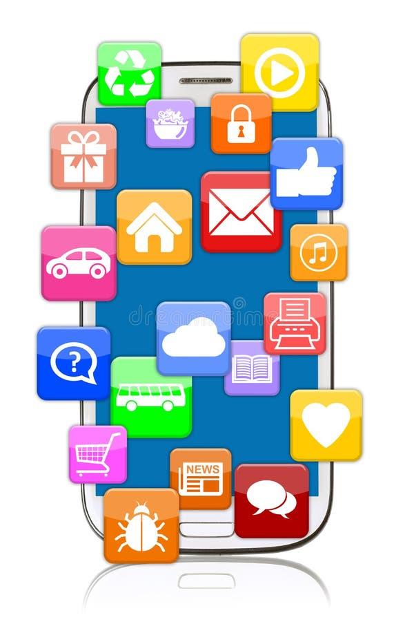 Mobile futé de téléphone avec le téléchargement des apps APP d'application pour l'interne illustration de vecteur