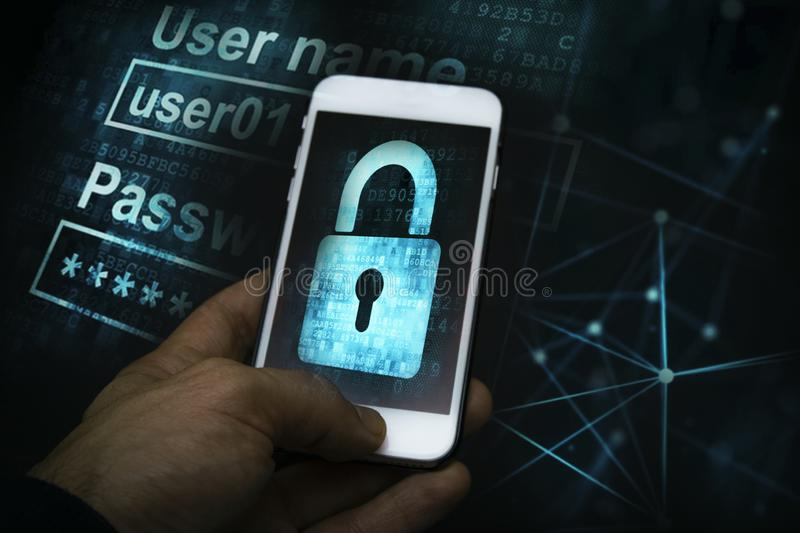 Mobile Gadget Protection. Hackers, hacking computer networks. Mobile Gadget Protection royalty free stock photography