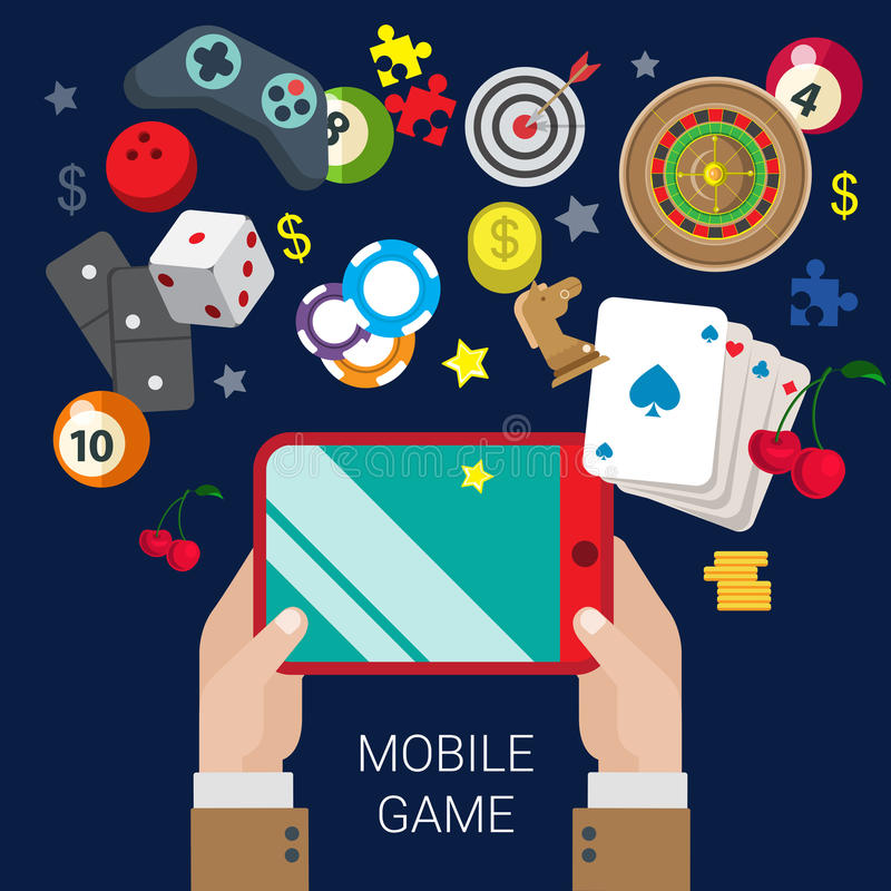 Mobile gamble online casino game play flat web gambling concept. Mobile gamble online casino video game tablet console play flat web site vector gambling concept royalty free illustration