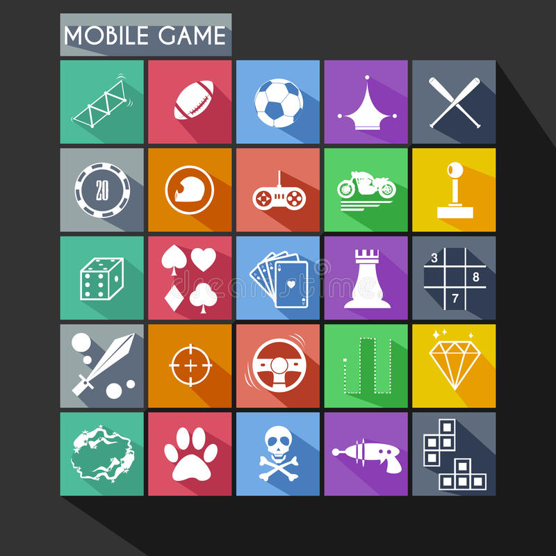 Free Mobile Game Flat Icon Long Shadow Stock Images - 40120794