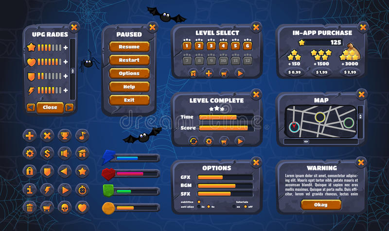 Mobile game graphical user Interface GUI. Design, buttons and icons. Vector illustration. vector illustration