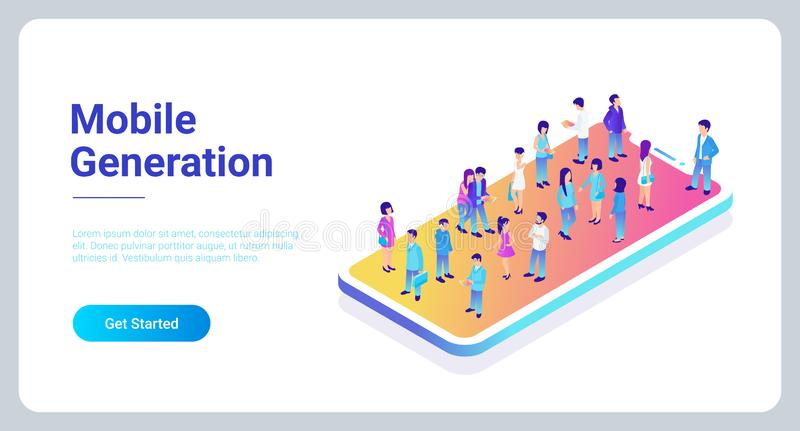 Mobile generation micro people isometric concept stock illustration