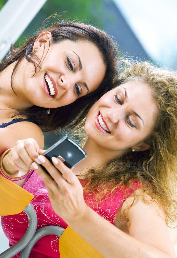 Mobile girls royalty free stock photos