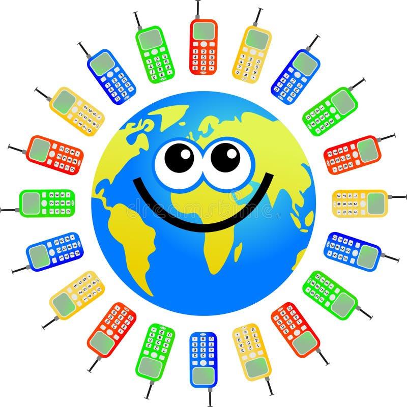 Mobile globe vector illustration