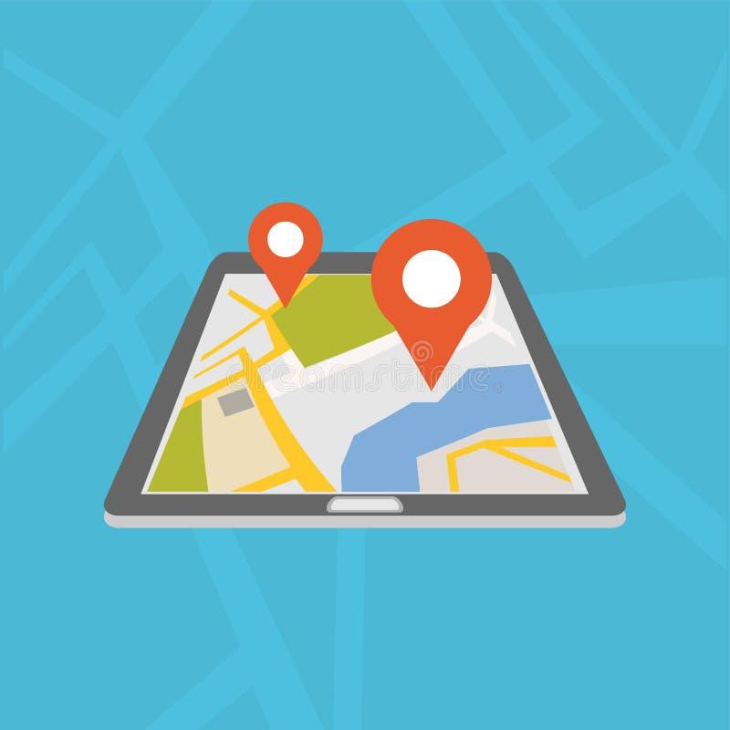 Mobile GPS navigation application. Digital map. vector illustration