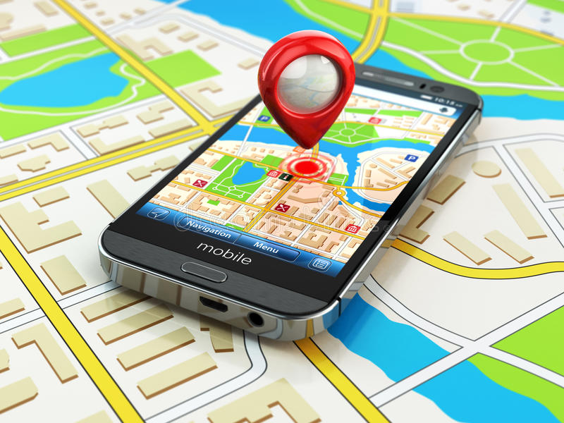 Mobile GPS navigation concept. Smartphone on map of the city,. 3d royalty free illustration