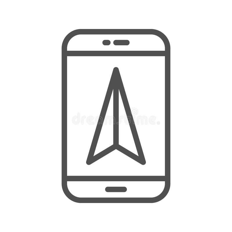 Mobile GPS navigation line icon royalty free illustration