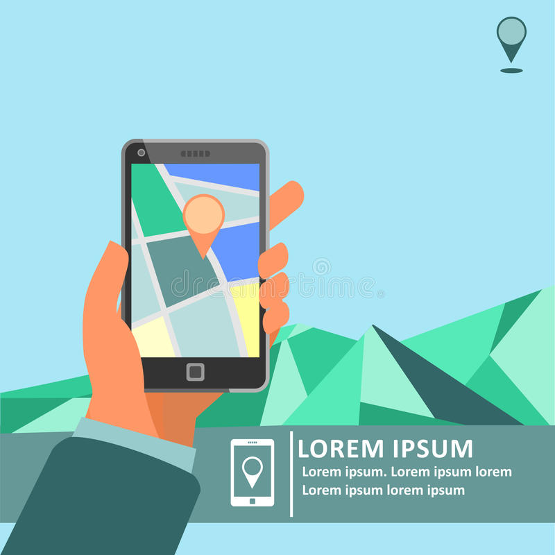 Mobile gps navigation on mobile phone with map poster stock illustration
