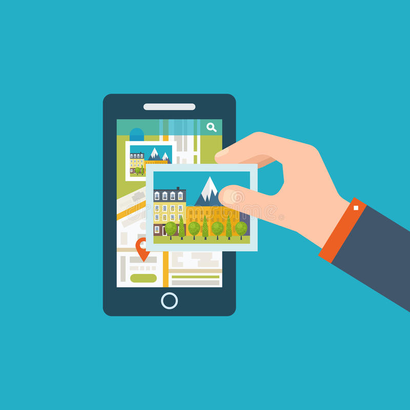 Mobile gps navigation on mobile phone with map stock illustration