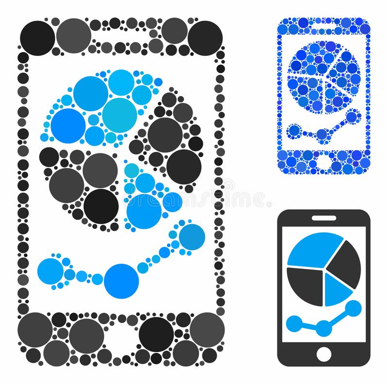 Mobile graphs Composition Icon of Round Dots. Mobile graphs composition for mobile graphs icon of small circles in various sizes and color tones. Vector small stock illustration