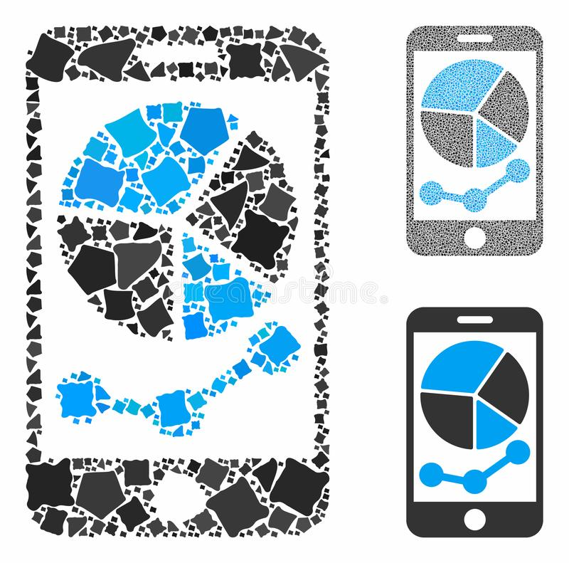 Mobile graphs Mosaic Icon of Rugged Parts. Mobile graphs composition of tuberous pieces in various sizes and shades, based on mobile graphs icon. Vector vector illustration