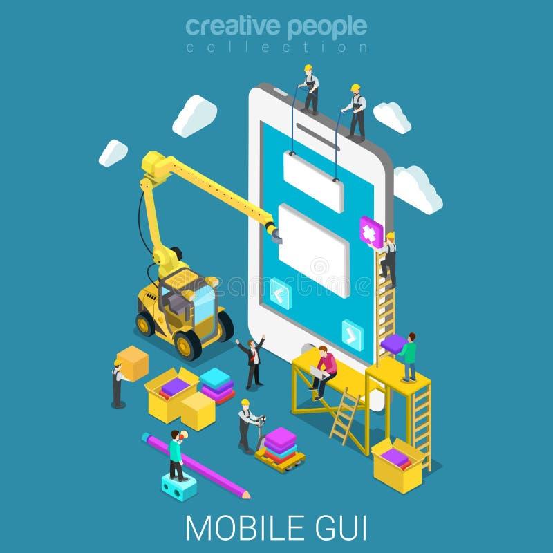 Mobile GUI prototype UI/UX interface flat isometric vector 3d. Mobile GUI prototype flat 3d isometry isometric app development concept web vector illustration vector illustration