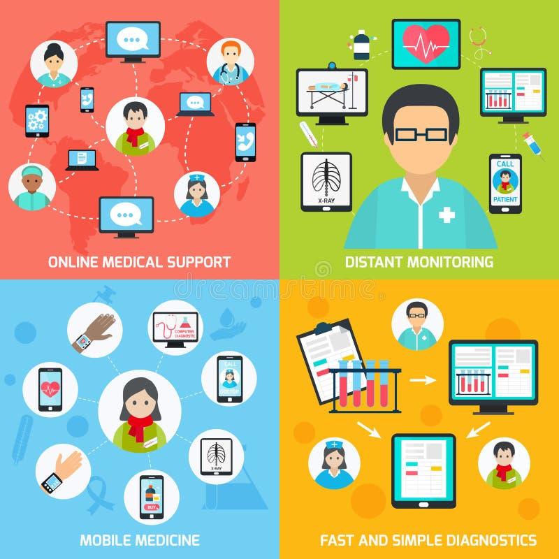 Mobile health icons set flat royalty free illustration