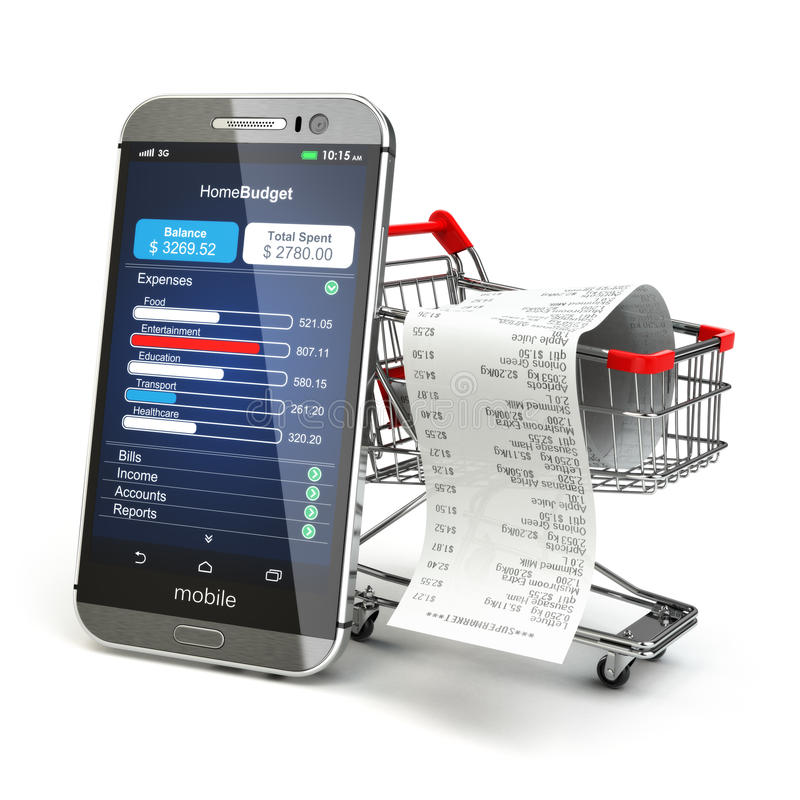 Mobile home budget application concept. Smartphone with shopping stock illustration