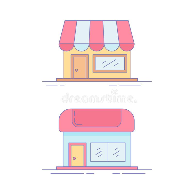 Home Market Line Icon or Logo vector illustration