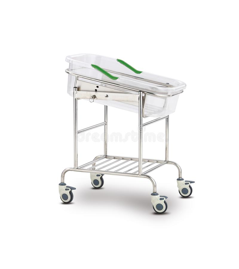 Mobile Hospital Bed under the white background. Medical Equipment. Technology of medical and hospital services. image for background, objects, copy space stock illustration