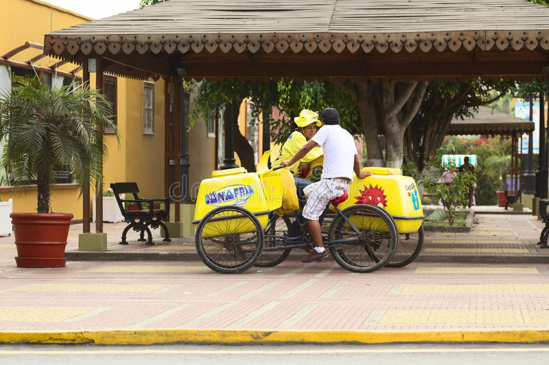 Mobile Ice Cream Vendors in Barranco, Lima, Peru. LIMA, PERU - APRIL 19, 2012: Unidentified mobile ice cream vendors with D'Onofrio ice cream carts standing stock photo
