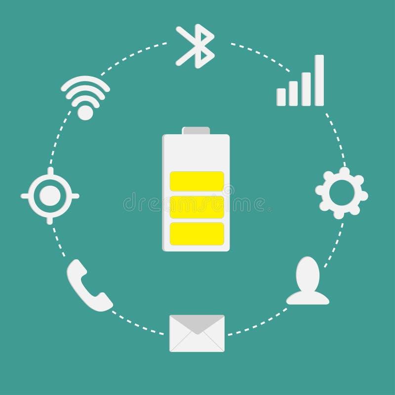 Mobile icon set Battary inside dash line circle. Flat design style. Vector illustration stock illustration