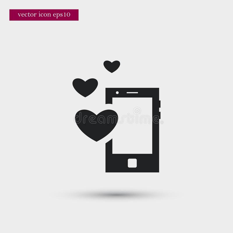 Mobile icon. Simple romance element illustration. Valentine symbol design from love collection. Can be used in web and mobile vector illustration