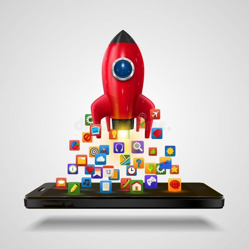 Mobile icons app rocket on the white background. vector illustration